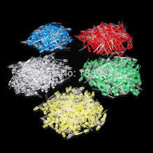 Free Shipping 500Pcs 3MM LED Diode Kit Mixed Color Red Green Yellow Blue White