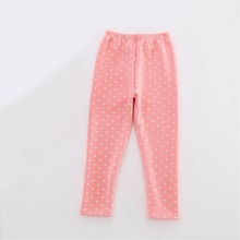 Autumn Winter Kids Leggings Pants Thick Thermal Warm Cotton Children Wear Fleece Lined Pants Dots Sport Boy Girls Leggings Black