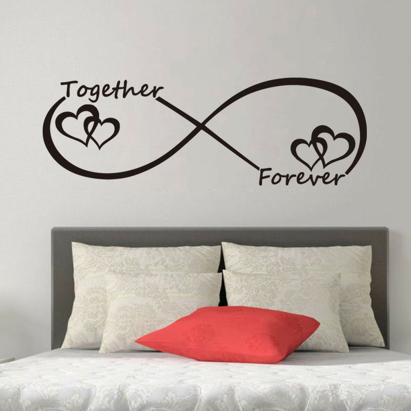 LOVE Heart Together Forever Bedroom Carved Wall Sticker for Home Decoration (China)