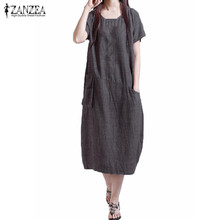 Buy ZANZEA Women Oversized 2017 Summer Casual Loose Solid Dress Ladies Short Sleeve O Neck Mid-calf Dresses Vestidos Plus Size for $8.42 in AliExpress store