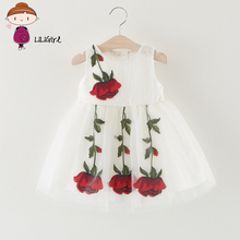 LILIGIRL Baby Girl Dress For Girls Party Dress Lace Infant Sleeveless Roses Princess Dresses Baby Girls Clothes