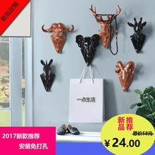 Wall creative hook, retro animal head key coat hook, home clothing store, personalized three-dimensional ornaments Pendant(China)