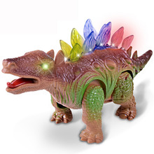 Child Electric Dinosaur Toy Walking Robot Interactive Stegosaurus Toy with Light and Roaring Sound Kids Model Toy(China)