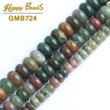 India Agates Rondelle Beads Natural Stone Beads For Jewelry Making 15inch 6/8/10mm Spacer Beads Diy Bracelet Drop Shipping(China)
