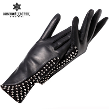 Genuine Leather glovePunk style gloves female Fashion leather gloves warm gloves winter Popular style gloves women rivet design(China)