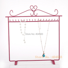 Pink  Painted Steel Necklace Display Stand Bracelet Display Stand Jewelry Display Holder 36 hooks