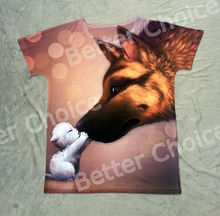 Track Ship+New Fresh Vintage Retro Hot T-shirt Top Tee Magic Bubble Little White Sheep Kiss Big German Shepherd 0604