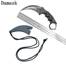 Damask New Design Fixed Blade Knife CS GO Portable Karambit Stainless Steel Sharp Blade Non-slip Handle Knife Outdoor Hand Tools(China)