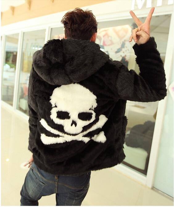 2017 fashion Winter new  faux fur coat Cozy black rabbit fur jacket Leather grass overcoats men skull pattern Hoodie