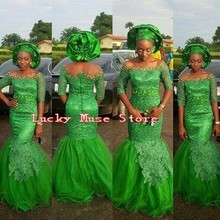 Abendkleider Nigerian Style Long Green Evening Dresses Mermaid African Aso Ebi Lace Formal Gowns 2017 New Arrival Custom Made