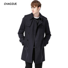 CHAOJUE Brand Men's Coat 2017 Spring/Fall New Design Plus Size 6XL Trench uk Male Fitted Stylish Medium Pea Coat Free Shipping