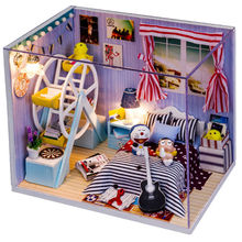 Doll House Include Dust Cover Miniature Wooden Building Model Kits Dollhouse Furniture Model Toys Dolls for houseBirthday Gift