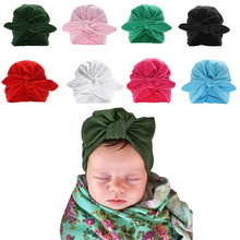 Winter Baby Hat Infant Warm Soft Bowknot Hat Rabbit Ears Elastic Lovely Girls Beanies Cap for 0-3Y Newborn Knitted Cap Skullies(China)