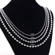 Width 1.6mm/2mm/2.4mm/3.2mm/4mm/5mm Stainless Steel Round Ball Chain High Quality Rolo Necklace Chain Wholesale Never Fade