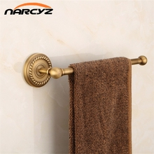 NEW Towel Rings Single Rail Antique Brass Wall Shelf Towel Bar Towel Rack Bathroom Kitchen Hangers Home Decor Towel Holder 9152K(China)