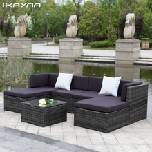 iKayaa US UK Stock Patio Garden Furniture Sofa Set Ottoman Corner Couch Rattan Wicker Furniture salon de jardin exterieur