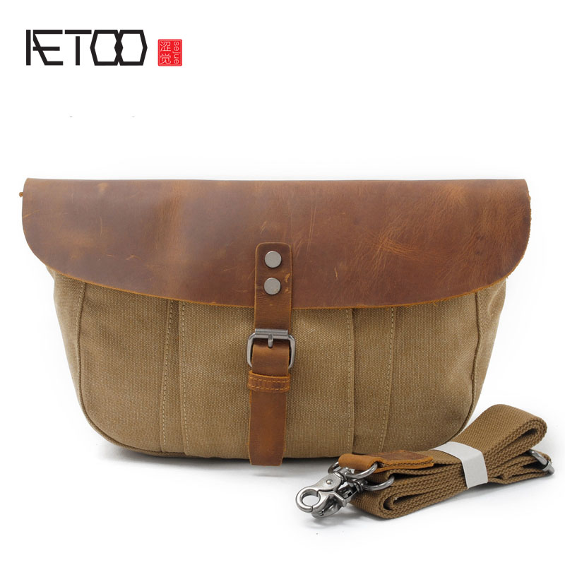 AETOO New mens shoulder bag oblique canvas bag package leisure men bag<br>