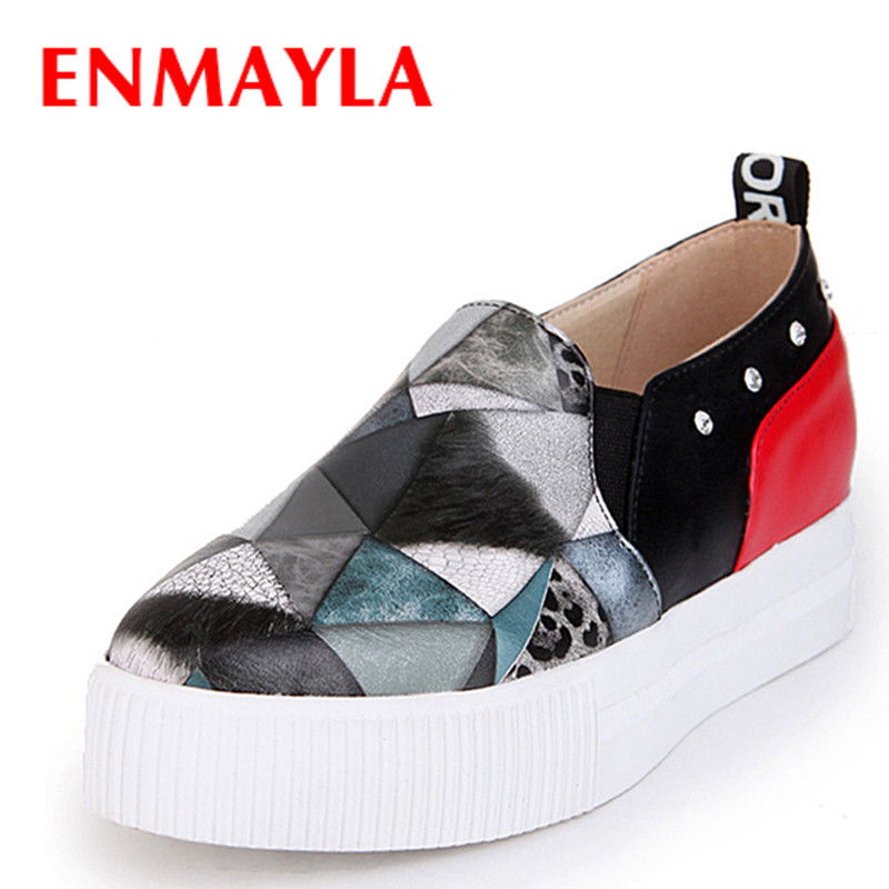 ENMAYLA Spring Mixed Colors Flats Shoes Women Geometric Patterns Rivets Casual Shoes Women Slip-on Flats Platform Shoes Woman<br>