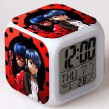 Anime Figma Miraculous Ladybug PVC LED Clock Alarm Growing Touch Light Ladybug Action & Toy Figures Kids gift