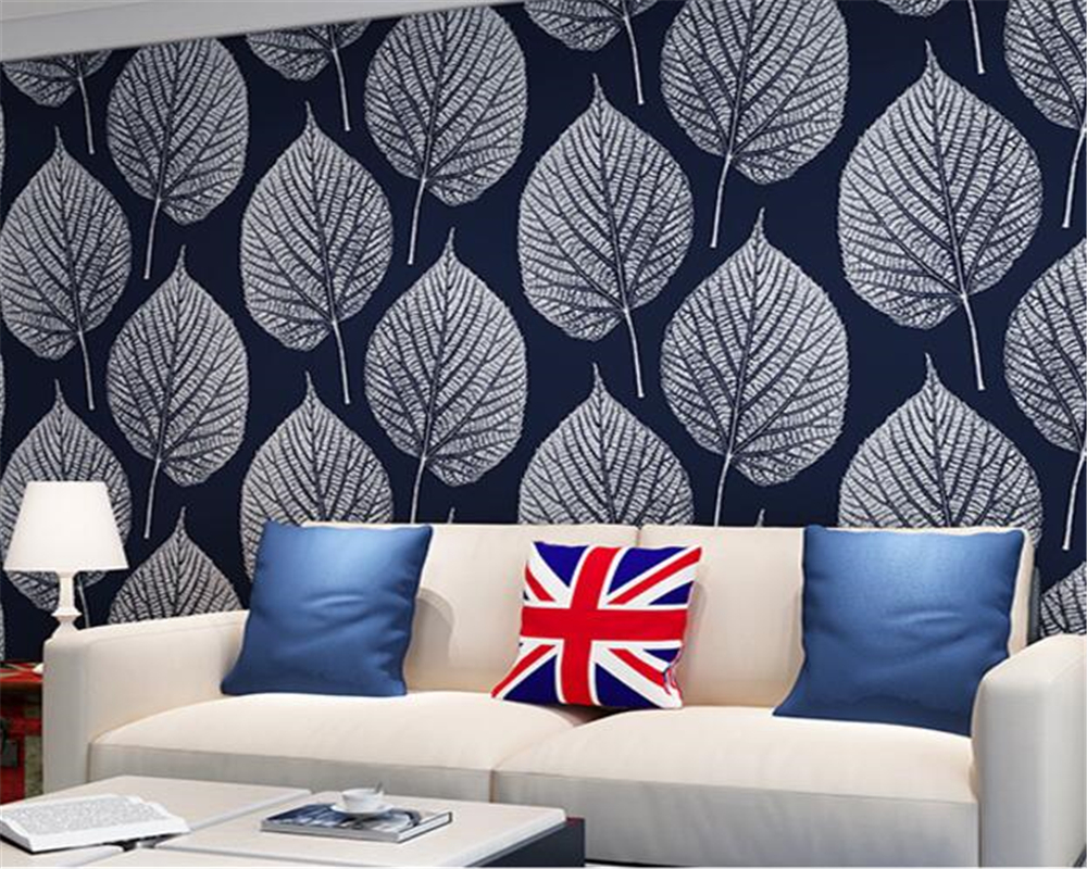 Beibehang papel de parede Modern simple personality black and white leaves background 3d wallpaper living room bedroom wallpaper<br>