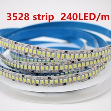 5m/lot 10mm PCB Thermal plastic 3528 SMD 600 LED Strip DC12V non-waterproof Flexible Light 240 leds/m White Warm White(China)