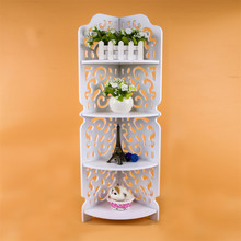 1Pc White 4 Tiers Hollow Carved Wooden Corner Stand Shelf Display Storage Holder Furniture