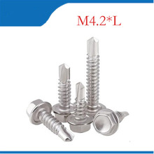 M4.2 Roofing Screws Tapping Screw Self Drilling Sheet Metal Hex Washer Head Screws Stainless Steel 410(China)