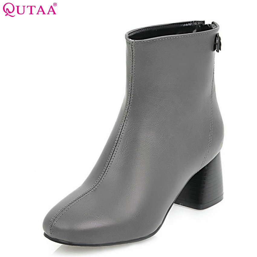 QUTAA 2018 New Women Fashion Ankle Boots Pu Leather Square High Heel Zipper Soild Black All Match Ladies Bots Size 34-43<br>