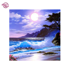 "rkANGEL'S HAND DIY Diamond Painting Needlework round Full Diamond ""sea and sun"" Embroidery Painting Pattern Home"