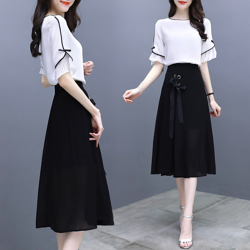 Chiffon Flare Sleeve Skirt Set Ensemble Femme Survetement Two Piece Set Conjunto Feminino Women's Suit Year-old Female Costume
