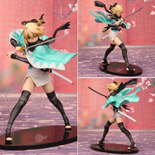 Fate/Stay Night Action Figures Saber Okita Souji PVC 220mm Aquamarine Fate Anime Model Toys Fate Stay Night(China)