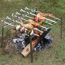 New 1 set Portable Stainless steel Charcoal Grill Barbecue Grill Rack +6pcs 45cm BBQ Skewers Camping BBQ Travel Barbecue Grills