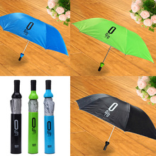 New Folding Umbrella Creative Wine Bottle Shape Mini Compact Foldable Design Semi-Automatic Anti-UV Parasol Sun/Rain Unbrella(China)