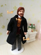 "6.7"" Porcelain doll model 1:12 dollhouse miniature Black suit Brown hair Middle-aged person"