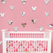 12Pcs/lot Hot Mickey Mouse Wall Stickers Children Room Indoor Decorative Dimensional Pattern Cartoon Tie 3D Mirror Wall Stickers