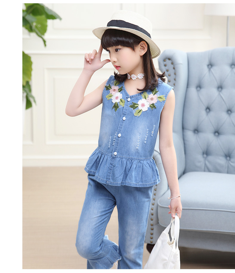 3-12 y summer girls clothes set denim outfits fashion sets for girl sleeveless embroidery top flared trousers children\`s sets (3)