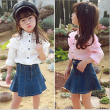 New Arrival baby girl shirt Turn-down Collar Full Sleeve Casual Kids  Blouse Camisa Slim Fit Chemise Kids Childhood Shirts
