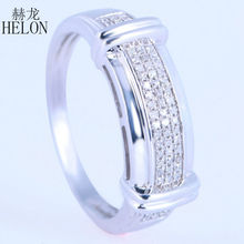 HELON Solid 14K White Gold Natural Diamonds Fashion Party Jewelry Mens Band Setting Engagement Wedding Men's Jewelry Fine Ring