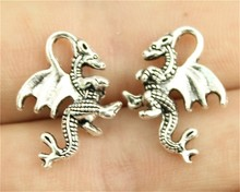 WYSIWYG 10pcs 20*15mm 2 Colors Antique Gold, Antique Silver Dragon Charms(China)