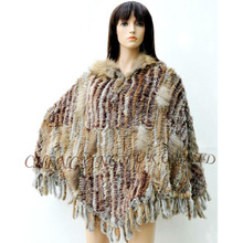 CX-B-110C 2016 European style Winter Fashion Genuine Rabbit Fur Knit Poncho Shawl With Hooded Most Popular