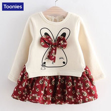 Hot Sale Cute Rabbit and Flowers Printed Girls Long Sleeve Dress 2017 Winter Autumn Baby Girl Princess Dress 2 Color YY2234