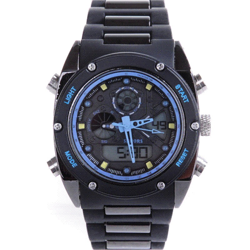 New authentic fashion show watch students waterproof LED luminous multi-functional electronic double mens watch<br>