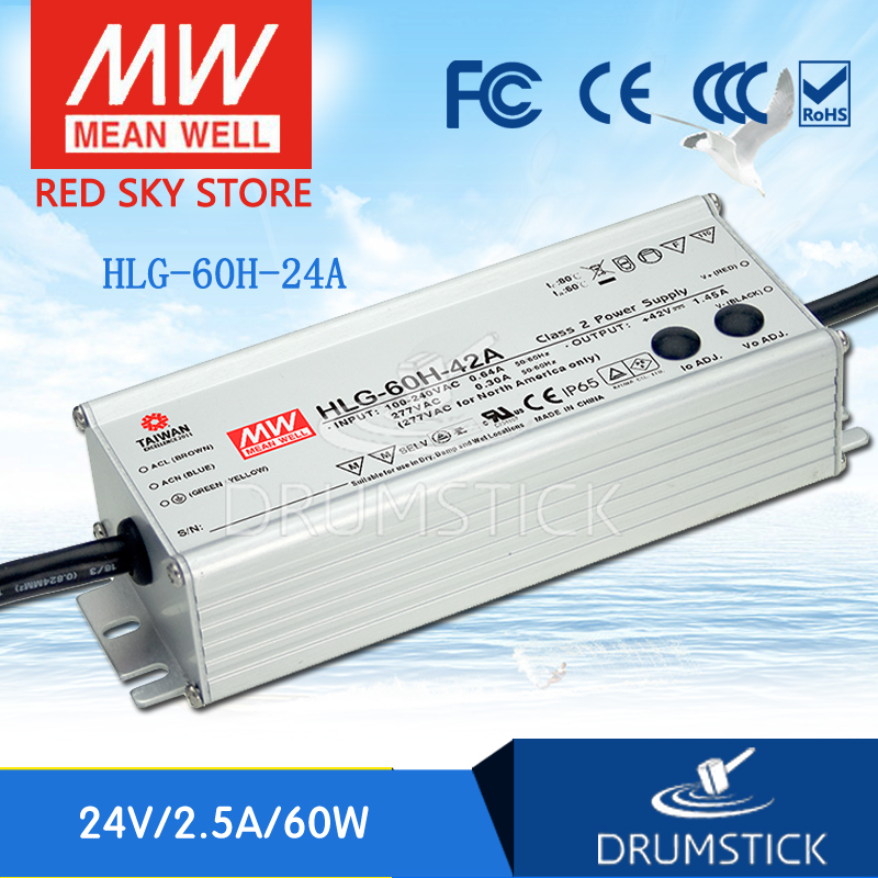 MEAN WELL HLG-60H-24A 24V 2.5A meanwell HLG-60H 24V 60W Single Output LED Driver Power Supply A type [Real6]<br>