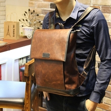 New crazy horse pu leather backpack men bags for school fashion brown backpack laptop back pack casual backpack multi-function