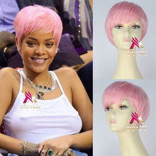 Synthetic Short Straight Pink Hair Rihanna Style Lolita Party Cosplay Wig