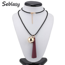 Seblasy Female Costume Accessories Spring Winter Jewelry Long Black Sweater Chain Geometric Alloy Ball Pendants Necklaces Women(China)