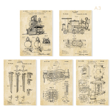 Vintage train patent art poster sets 5 in 1 Train sketch up Nursery train Wall Art classic train art(China)