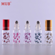 MUB - 5 ml (100 pieces/lot) Essential Oil Roller Bottles With Metal Roll On Butterfly Printing Perfume Bottle Wholesale