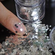 Pure Silver Fashion DIY UV Glitter Powder Dust Sheet Crystal Glitter Rhinestone 3D Nail Art Decoration  M01280