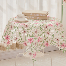 Hot Sale Elegant Polyester Satin Jacquard Embroidery Floral Tablecloths Handmade Embroidered Table Cloth Cover Overlays
